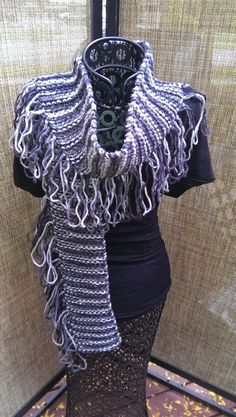 Hey, I found this really awesome Etsy listing at https://www.etsy.com/listing/164501168/black-grey-self-fringing-scarf