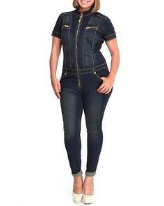BABY PHAT Plus Size Denim Jumpsuit * LACE UP CORSET BACK * Womens Jean Jumper