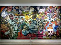 Eternal Damn Nation a collaborative mural by the Anting-Anting group, was seen at the Metropolitan Museum of Manila in Manila, the Philippines. Collaborative Mural, Metropolitan Museum, Manila, Philippines, Group, Painting, Art, Art Background, Painting Art