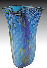 "Riverbed Bag Vase in Water by Thomas Philabaum (Art Glass Vase) (15.5"" x 6"")"