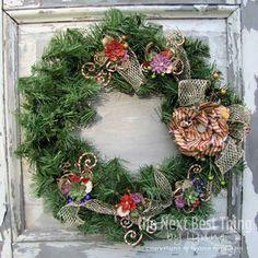 @Lynne Forsythe created this amazing wreath using Petaloo Flowers and Nutcracker Sweet! Amazing work. What a treasure! #graphic45 #petaloo