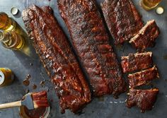 No need to bother with the smoker. Just fire up the oven. Oven Baked Ribs, Ribs In Oven, Rib Recipes, Cooking Recipes, Dinner Recipes, Baby Back Pork Ribs, Pork Dishes, Food To Make, Bon Appetit