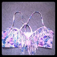 LA Hearts fringe bikini top LA heartsfringe bikini top with cool back and pretty floral pattern Soft molded cups size small , never worn and in excellent condition! LA Hearts Swim