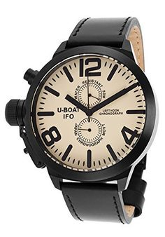 Men's Left Hook IFO Limited Edition Chronograph Black Genuine Leather Beige Dial, http://www.amazon.co.uk/dp/B00K39LWDM/ref=cm_sw_r_pi_n_awdl_Xx-KxbC43DV1Q