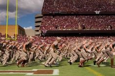 """Now forming at the north end of Kyle Field, the nationally famous Fightin' Texas Aggie band!"""