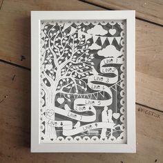personalised tree papercut by papercuts by cefuk | notonthehighstreet.com