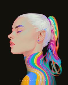 Character Art, Character Design, Psychedelic Colors, Illustration Art, Illustrations, Wow Art, Face Art, Traditional Art, Doodle Art