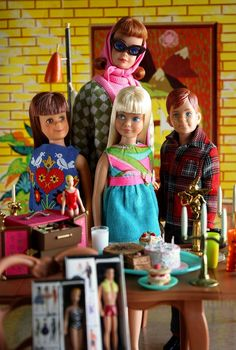 https://flic.kr/p/8KDeZy | Happy Party | Skipper celebrates everyone's good hair day. She invites her friends and sitter to enjoy a sugary bounty. But, where's Barbie? And Ken? Re-rooting of both dolls by Deborah Lillard for Spicyfyre Creations.