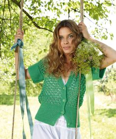 Free Pattern, Ladies' Vest With Lace Pattern - This lightweight vest is an elegant addition to any woman's wardrobe. The lacy pattern made of cotton Schachenmayr original Catania makes it the perfect summer top! Free Knitting Patterns For Women, Free Baby Patterns, Christmas Knitting Patterns, Free Pattern, Knit Vest Pattern, Summer Knitting, Knitting Accessories, Lace Tops, Cardigans For Women