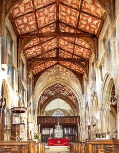The interior of the 14th century Edington Priory in Wiltshire