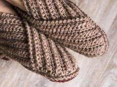Perfect your basic stitches with a pleasing pair of slippers.