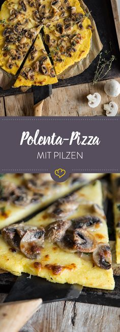 With creamy instant polenta, fried mushrooms and delicately melting mozza . - With creamy instant polenta, fried mushrooms and delicately melting mozzarella, you can conjure up - Polenta Pizza, Fried Mushrooms, Stuffed Mushrooms, Work Meals, Easy Meals, Pizza Recipes, Vegan Recipes, Quick Vegetarian Meals, Arrows