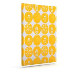 "Anneline Sophia ""Dotty Papercut Yellow"" Circles Gray Outdoor Canvas Art"
