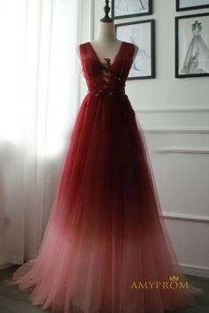 A Line V Neck Tulle Ombre Prom Dress, Cheap Appliqued Party Dresses – Simibridaldress Ombre Prom Dresses, Cheap Prom Dresses, Homecoming Dresses, Formal Dresses, Party Dresses, Dress Party, Bridesmaid Dresses, Burgundy Evening Dress, Green Evening Dress