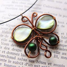 green bead copper wire butterfly pendant