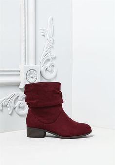Plus Size Clothing | Suedette Ruched Mid Calf Boots | Debshops