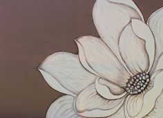 Acrylic Flower Paintings On Canvas | acrylic painting of cream and mocha flower painted onto canvas ...