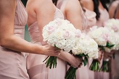 Pink and white rose, hydrangea, ranunculus and rose bridesmaid bouquets #dreamdigs #Traditional #BlushBride