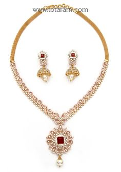 Rose Gold Polish in Diamond Necklace Cum Pendant & Earrings Set with Ruby , Onyx & South S Diamond Necklace Set, Diamond Jewelry, Gold Jewelry, Jewelry Sets, Antique Jewelry, Fine Jewelry, Gold Necklace, Gold Jewellery Design, Gold Bangles