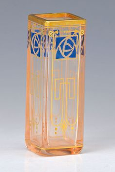 Art Nouveau vase, probably Wien, around 1900, slightly rose colored glass, golden and blue enamel painting, gold decoration