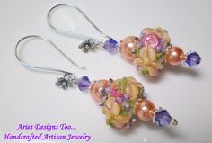 Peach Lavender and Pink Floral Lampwork by ariesdesignstoo on Etsy