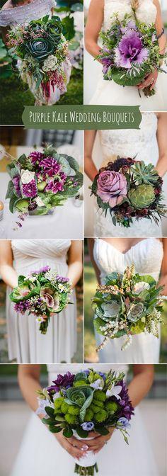 beautiful purple kale and kale green wedding bouquets ideas