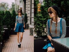 Nastia Poberezhna - Wholesalebuying Denim Skater Skirt, Zara Striped Top, Shellys London Shoes - Wholesalebuying Skirt