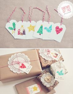 Watercolor Christmas Motif Tags | 51 Seriously Adorable Gift Tag Ideas