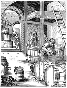 The Brewer designed and engraved in the Sixteenth. Century by J Amman - History of beer - A brewery - Wikipedia, the free encyclopedia Renaissance, Beer History, Medieval Crafts, Beer Industry, Dark Ages, Ancient Artifacts, 14th Century, Brewery, Poster