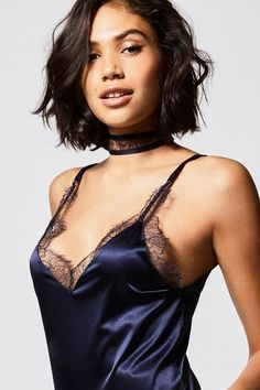 Lace Camisole Top, Loose Fitting Tops, Effortless Chic, Blue Satin, Sunday Morning, Workout Tops, Midnight Blue, Playsuit, Choker