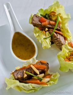 Steak Salad Lettuce Wraps. Easy Appetizer!