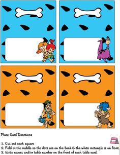 Flintstones printable place cards.