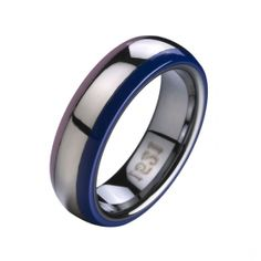 Sterling Silver Tungsten Carbide Ring Double Ceramic Edge  RRP: Price: $108.56