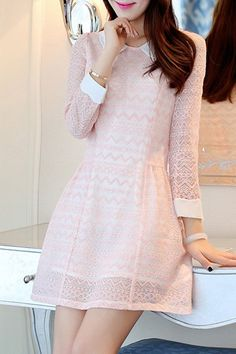 Chic Peter Pan Collar 3/4 Sleeve Lace Dress For Women
