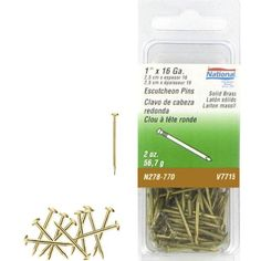 National Manufacturing N278-770 16 Gauge 1 Inch Solid Brass Escutcheon Pins 2 Oz. Package by Stanley. $2.17. Escutcheon pins are a small specialty nail made pin shaped of solid brass and used as a fastener retainer to hold backplates in position, decorative furniture trim and other similar uses.. Save 32%!
