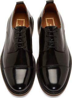 AMI Alexandre Mattiussi Black Leather Layered Sole Derbys