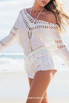 Crochet Flower Openwork Asymmetric White Blouse