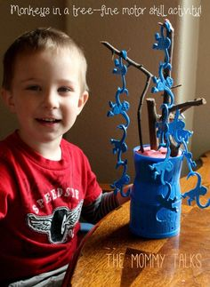 Monkeys in a barrel climb a tree--fine motor skills activity for toddlers | The mommy talks