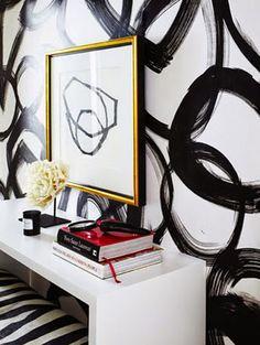 Ferreira Design - entrances/foyers - black and white wallpaper, modern black and white wallpaper, modern black and white abstract wallpaper, black