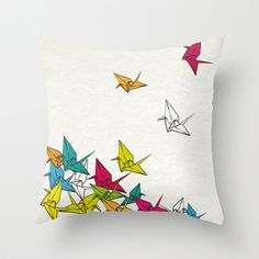 cranes origami Throw Pillow by Manoou - $20.00