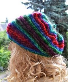 Knitted multicolor beani cap/hat lovely warm by DosiakStyle