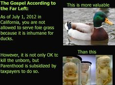 The Gospel According to the Far Left.  As of July 1, 2012 it is illegal to sell foise grass because it is cruel for the duck.  OK not only to kill the unborn, but fund PlannedParenthood to do it -  http://news.yahoo.com/foie-magaddeon-spurs-foie-gras-benders-california-101318397.html.
