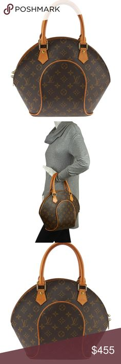 Louis Vuitton Ellipse Monogram Satchel 138837 •Designer: Louis Vuitton •Exterior/Interior Condition: Gently Used •Type: Satchel •Material: Canvas •Origin: USA •Color: Brown •Interior Lining: Canvas •Interior Color: Brown •Meas (L x W x H): 14x3x8 •Handle Drop: 7 •Interior Pockets: 1 •Production Code: SD0051 •Overall Condition Description: Exterior: canvas shows scratches in various locations, piping shows scuffing, handles show patina and wear, hardware shows scratches Interior: shows light…