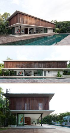 Architectkidd have designed a house for a Swiss family living in Bang Saray, Thailand. Tropical Architecture, Modern Architecture House, Facade Architecture, Modern House Design, Residential Architecture, Villa Design, Facade Design, Exterior Design, Modern Tropical House