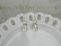White Swarovski Bridal Pearl Earrings Pearl by BridalTreasures4U, $20.00