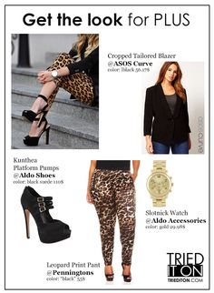 Get the look for plus! Leopard pants and a black blazer in plus sizes