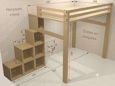 "Resultado de imagen de crib loft do it yourself # . - Resultado de imagen de crib loft do-it-yourself # ""bunkbeddesignsdiy"" - Build A Loft Bed, Loft Bed Plans, Diy Bed Loft, Loft Bed Dorm, Bunk Beds With Stairs, Kids Bunk Beds, Lofted Beds, Loft Bed Stairs, Bunk Bed Ideas For Small Rooms"