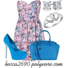 """Flirty floral & blue"" by becca2690 on Polyvore"