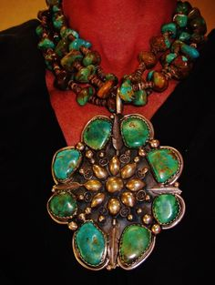 NATIVE AMERICAN IMMENSE NECKLACE,235gr G.CHAVEZ,Sterling Silver,Turquoise,Heishi