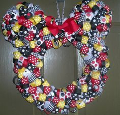 Disney Wreath, Mickey Mouse Ribbon Wreath, Minnie Mouse Ribbon Wreath